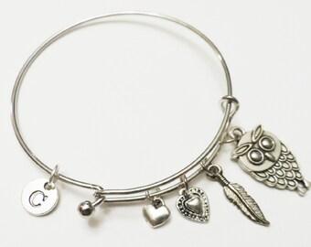 Owl Charm Bracelet, Owl Jewelry, Silver Charm Bangle, Wire Bangle, Personalized Jewelry, Initial Bracelet, Owl Jewelry, Gift Under 20