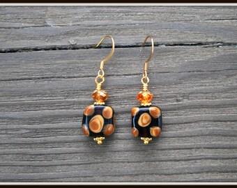Lampwork Earrings, Black Lampwork Earrings, Black and Brown Earrings, Square Lampwork Earrings, Everyday Earrings