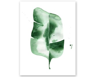 Banana Leaf no. 4 Watercolor Giclee Fine Art Print Poster of Original Painting