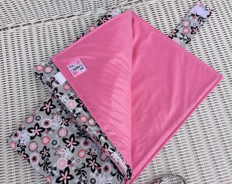 CUSTOM Waterproof Changing Pad with Wristlet Strap and Pockets