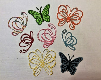 Handmade, 8 Butterflies, Die Cuts, Sizzix, Assorted Colors, Assorted Sizes, Cards, Scrapbooking