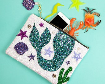 Mermaid Glitter Clutch Handbag