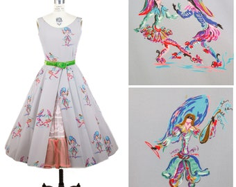 1950s Dress // Carnevale Masquerade Novelty Print Rayon Sleeveless Full Skirt Dress