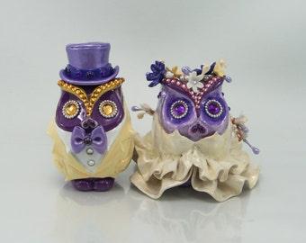 MINI OWL cake topper weddings handmade bride and groom