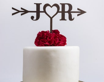 Rustic Wedding Arrow Cake Topper,Custom Cake Topper,Bridal Shower Cake Topper,Cake Toppers for Weddings,Rustic Wedding Cake Topper