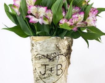 Bridal Shower Gift, Bridal Shower, Wedding Decor, Birch Vase, Wedding Gift,Wedding Vase, Rustic Bridal Shower Decorations BV111