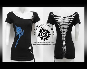 BLUE TRIBAL ROSE - Womens/Junior Cut and Weaved Black Top with Beautiful Blue Foil Tribal Rose, Festival Wear, Yoga and Beach Wear