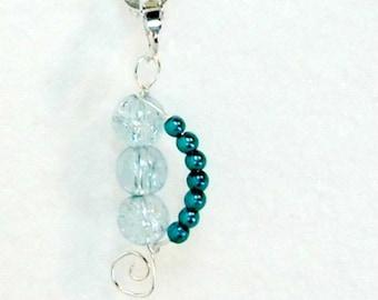 Handmade earrings clip or pierced aqua faux seed pearls crackle bead Pat2