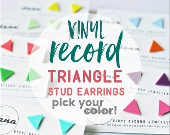 colorful triangle studs unisex stud earrings small studs geometric post earrings flat studs minimalist studs eco-friendly studs gift for her