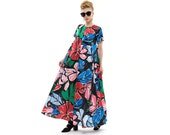 Floral Maxi Dress, Long Evening Dress with short Sleeves and Pockets, Trendy Cocktail Dress