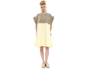 African Print Dress Dress with Ruffle Sleeves, T-Shirt Dress with Short Sleeves and Pockets for Day or Evening, summer dress