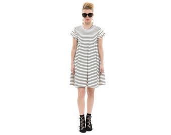 Flapper Dress in White with black stripes ,Striped dress, classic Dress, Spring Dress, summer dress, Handmade Chic Boho Dress
