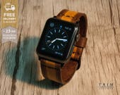 """Apple Watch Band Leather Watch Band Minimal 42mm 38mm Series 1 and 2 Leather Carving Band """"Stripe"""" [Handmade] [Custom Colors]"""