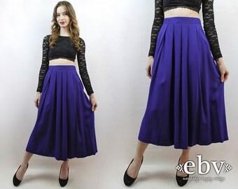Purple Skirt High Waisted Skirt High Waist Skirt Secretary Skirt Work Skirt Pleated Skirt Purple Maxi Skirt Purple Midi Skirt 90s Skirt L