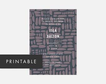 Minimalist Modern Printable Invitation / Simple DIY Invite / Bold Pattern / Muted Blue, Purple / Bridal Shower, Baby Shower, Adult Birthday