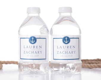 """Nautical Wedding Water Bottle Labels - Nautical Wedding Favors - Need a different quantity? Click on the """"choose total"""" tab to see pricing"""