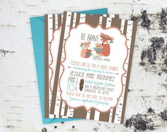 Baby Shower Invitations - Woodland Baby Shower Invitations - Boho Shower Invitation Cards - Personalized Fox Forest Baby Shower Invitations