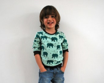 Blue elephant top SALE 10% girls boys retro sweater cute elephants zoo cotton mint green jersey clothing unisex clothes jumper origami print