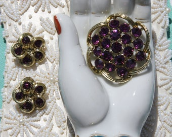Gorgeous Vintage  Circa 1950s/60s Rhinestone Brooch / Pin with Matching Earrings - Demi Parure - Amethyst / Lilac Purple-Colored Rhinestones