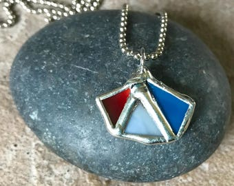 Small unique Stained Glass Necklace Pendant
