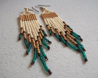 Cream gold teal, long fringe, seed bead earrings, colorful earrings, bold earrings, statement earrings, boho earrings, dramatic earrings