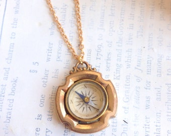 Rare Antique Victorian Gold Plated Working Compass Necklace