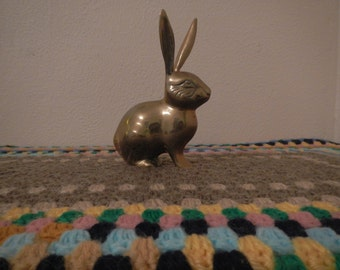 Vintage Brass Rabbit Figurine/ Paperweight/ Decor
