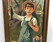 Framed Paint by Number, Vintage PBN, Boy fishing with Beagle Dog