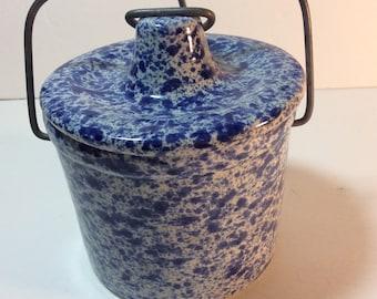 Blue Spatterware or Spongeware Cheese Crock with bail handle