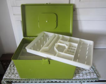 Wil-Hold Sewing Box Wilson Green Plastic with 2 Trays