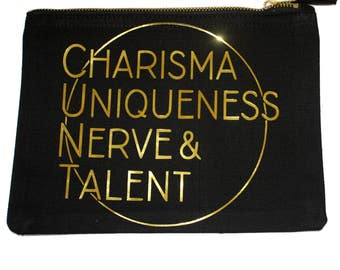 Charisma Uniqueness Nerve & Talent Printed Vinyl Ethically Sourced Makeup Bag MUA Cosmetics Wash Bag Travel Case Gold RuPaul Drag Race