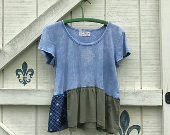 Blue hippie top, M-L, Embelished top blouse Upcycled clothing