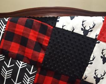 Buck Patchwork Blanket- Black Buck, Lodge Red Buffalo Check, Black Minky, and Red Minky Patchwork Blanket