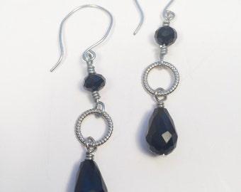 Black Glass Teardrop Bead Earrings
