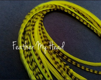 Feather Hair Extension - 5 Piece 9 - 12 inches Long (23-30 cm) Grizzly Stripe / Solid Mix - Neon Yellow - Brights