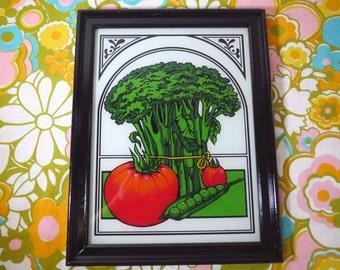 Vintage 1970s Retro Modern Kitchen Wall Art Picture Broccoli Tomato Peas Reverse Glass Painting