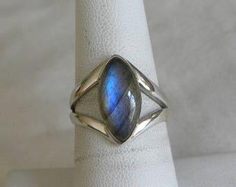 Labradorite Ring Handmade Ring Blue Flash 14x8mm Gemstone Ring Sterling Silver Ring Size 7 1/2 Take 20% Off Women's Blue Labradorite Jewelry