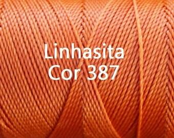 Linhasita Bright Orange Cor 387, Waxed Polyester Macrame Cord / String / Hilo