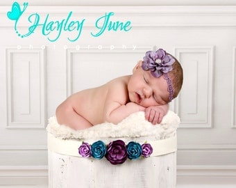 Lavender Flower Headband...Baby Girl Headband...Purple Flower Headband...Newborn Headband...Purple Lace...Newborn Headband...Photo Prop