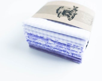 "Unpaper Towels Cloth Napkins 12 Flannel Tissues  - Choose your size (8""x 8"" or 10"" x 12"")  - 1 PLY - Purple   Mix"