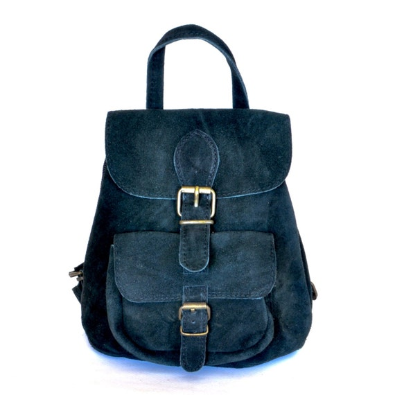 Small suede leather backpack / Women suede leather backpack /