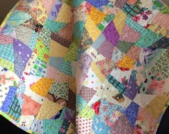 """HOLIDAY SALE A Scrap Happy 35.25"""" X 35.75"""" Quilt For Baby"""