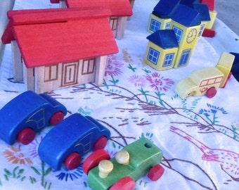 Vintage Lot Mini Building Blocks and Cars Painted Wood mini blocks