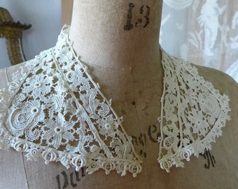 Vintage Lace Collar Cream Lapel Lace Accessory Floral Lace Supply Sewing
