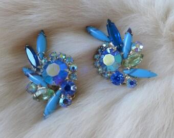 Juliana Vintage Rhinestone Earrings Blue with Green Juliana Symphony in Blue AB Clip on Earrings