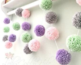 Pom Pom Garland - Lavender - Gray - Pink - Mint - Baby Nursery Garland - Spring Garland - Wedding Decor - Party Decoration
