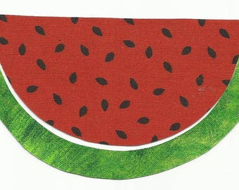 Watermelon Fruit Slice Fabric Iron on Applique - No Sew