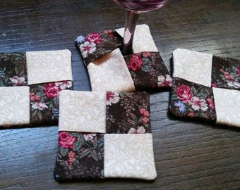 Set of 4 Brown & Ivory Floral Fabric Wine Glass Coasters