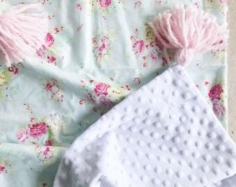 Baby Blanket English Garden with Tassels
