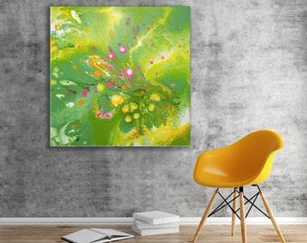 "Rock Pool - Green, White, Yellow, & Pink Abstract Expressionist Fluid Painting by Louise Mead 30"" x 30"" Green Abstract Painting on Canvas"